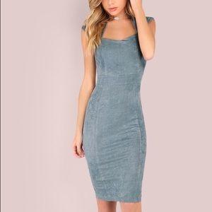 Suede Midi Bodycon Sheath Dress Size XS
